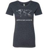 World Travel Adventure Awaits Women's Triblend T-Shirt - The Art Of Travel Store: Travel Accessories, Travel Clothes, Travel Gear
