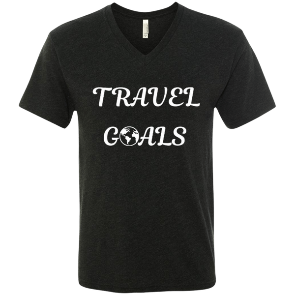 Travel Goals Men's Triblend V-Neck T-Shirt - The Art Of Travel Store: Travel Accessories, Travel Clothes, Travel Gear