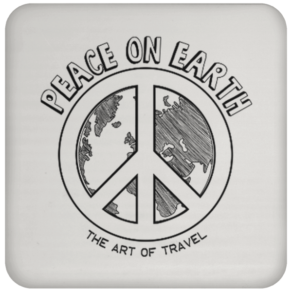 Peace on Earth Sqaure Coaster - The Art Of Travel Store: Travel Accessories and Travel T-Shirts