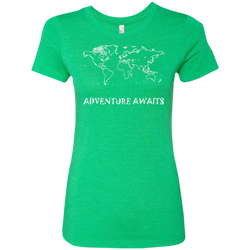 World Travel Adventure Awaits Women's Triblend T-Shirt - The Art Of Travel Store: Travel Accessories and Travel T-Shirts
