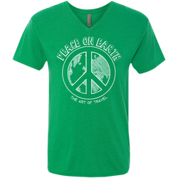 Peace on Earth Men's Travel Triblend V-Neck Tee - The Art Of Travel Store: Travel Accessories and Travel T-Shirts