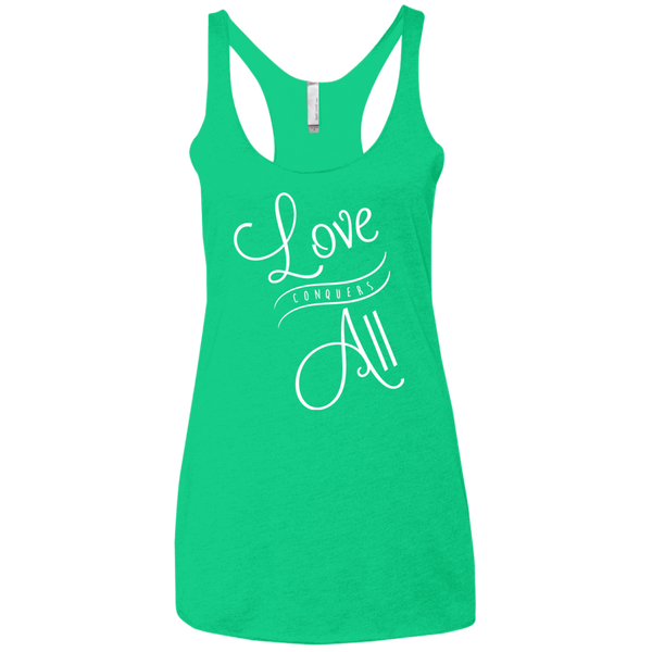Love Conquers All Women Triblend Tank Top - The Art Of Travel Store: Travel Accessories and Travel T-Shirts