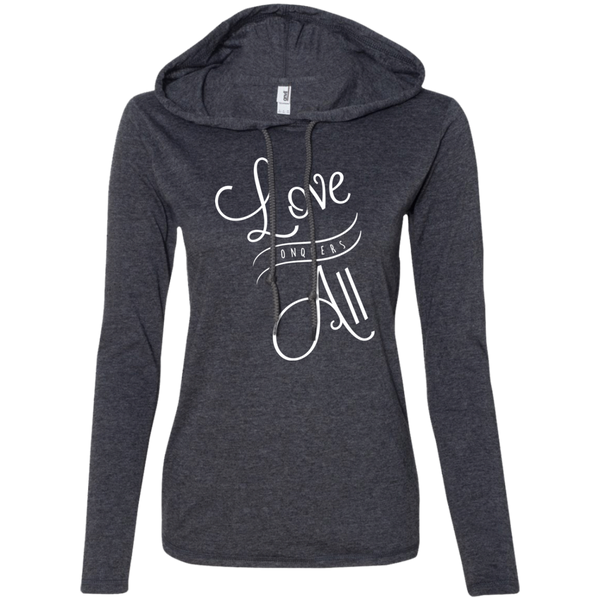 Love Conquers All Ladies' T-Shirt Hoodie - The Art Of Travel Store: Travel Accessories and Travel T-Shirts