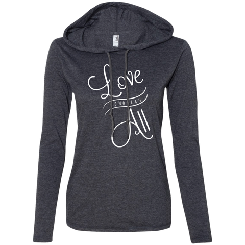 Love Conquers All Ladies' T-Shirt Hoodie - The Art Of Travel Store: Travel Accessories, Travel Clothes, Travel Gear