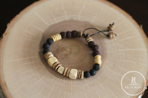 Natural Wood, Coconut Shell, Lava Bead Unisex Bracelet
