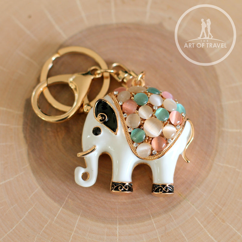 Shiny Crystal Elephant Keychain, Bag Decorations Keyring - The Art Of Travel
