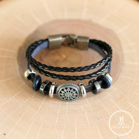 Rustic Leather Unisex Wanderlust Wristband