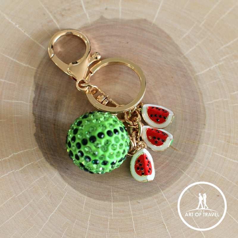 Shiny Crystal Watermelon Keychain, Bag Decoration Keyring - The Art Of Travel