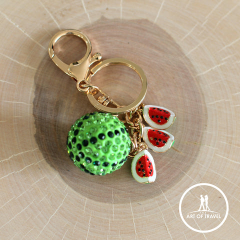 Shiny Crystal Watermelon Keychain, Bag Decoration Keyring