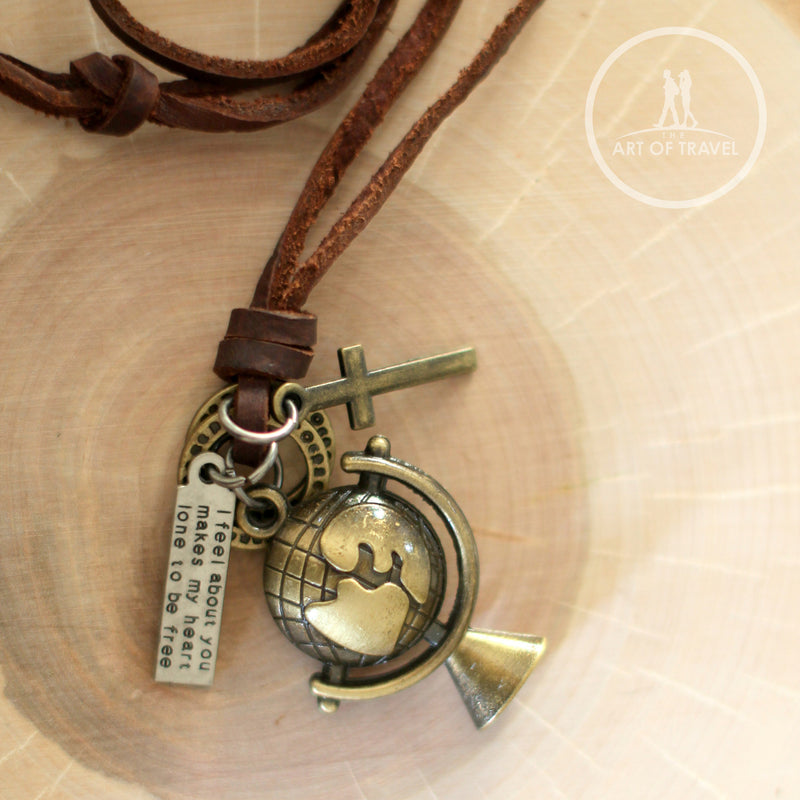 True Traveler Rustic Leather & Globe Unisex Necklace - The Art Of Travel Store: Travel Accessories and Travel T-Shirts