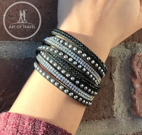 Sparkly Crystal Rhinestone Beautiful Leather Bracelet