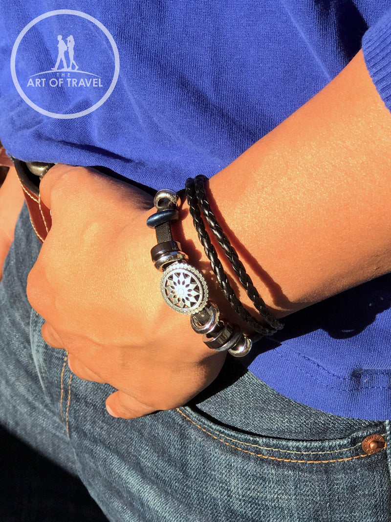 Rustic Leather Unisex Wanderlust Wristband - The Art Of Travel Store: Travel Accessories and Travel T-Shirts