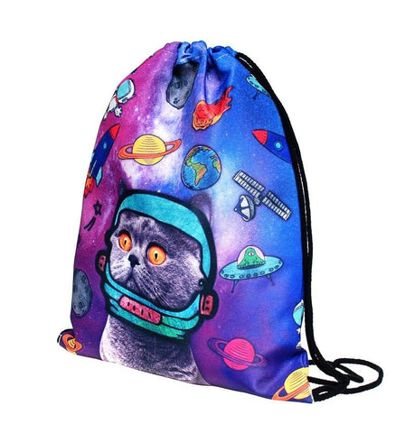 Cute Drawstring Backpack Cat Monkey