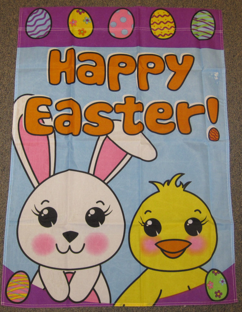 "28""x40"" Happy Easter Garden Vertical Spring Bunny Polyester Flag"