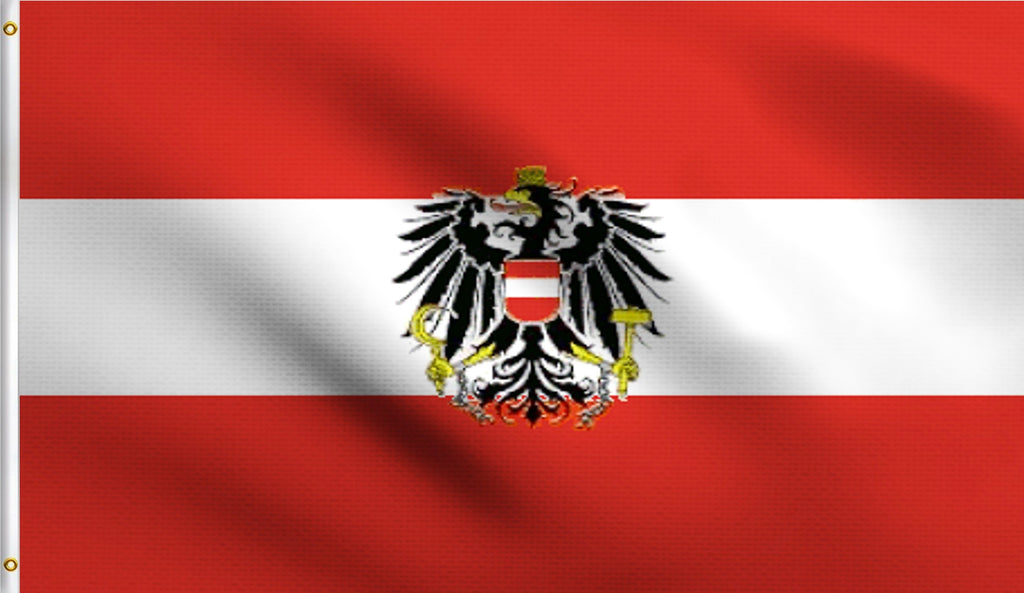 3x5 Austria With Eagle Austrian Crest Polyester Flag