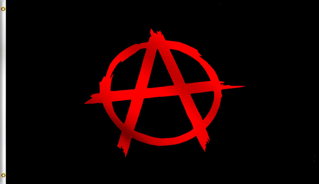 3x5 Anarchy Anarchist Symbol Red With A Circle On Polyester Black Flag