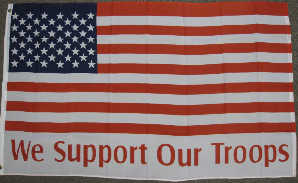 Economy 3'X5' Usa We Support Our Troops Polyester Flag
