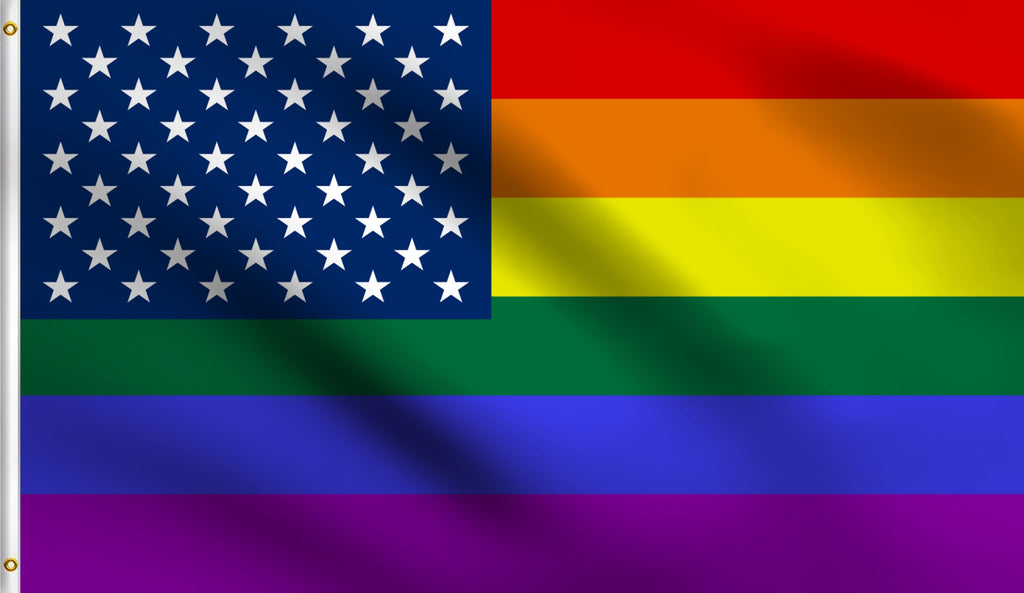 Economy 3'X5' Usa Rainbow Polyester Flag Gay Lesbain