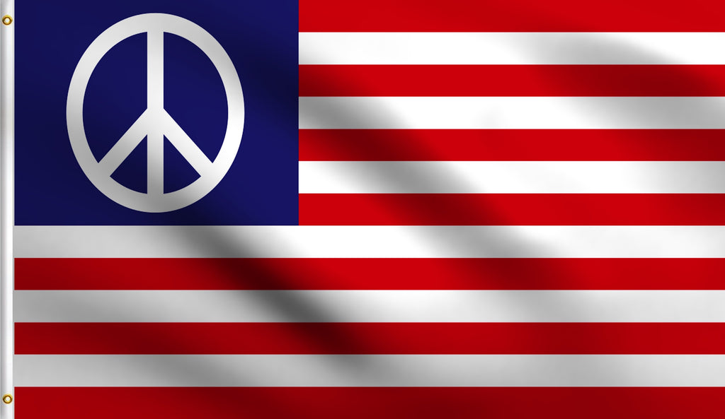 3x5 Usa American Peace Sign Polyester Flag