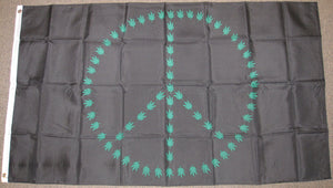 3'X5' Marijuana Leaf Peace Sign Polyester Flag Weed Bud Pot