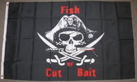 3'X5' Fish Or Cut Bait Pirate Polyester Flag