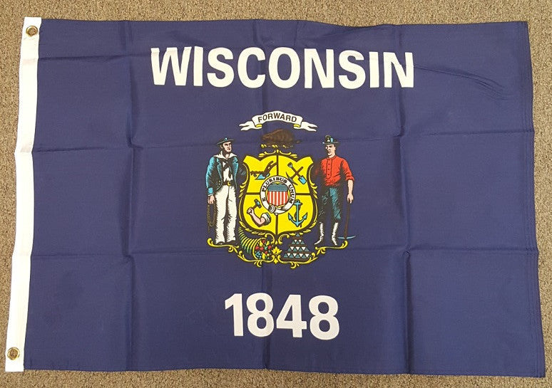 2'X3' Wiconsin 1848 State Polyester Flag