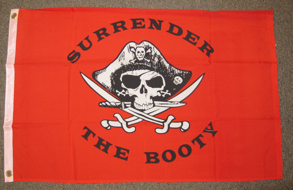 2'X3' Red Surrender The Booty Pirate Polyester Flag