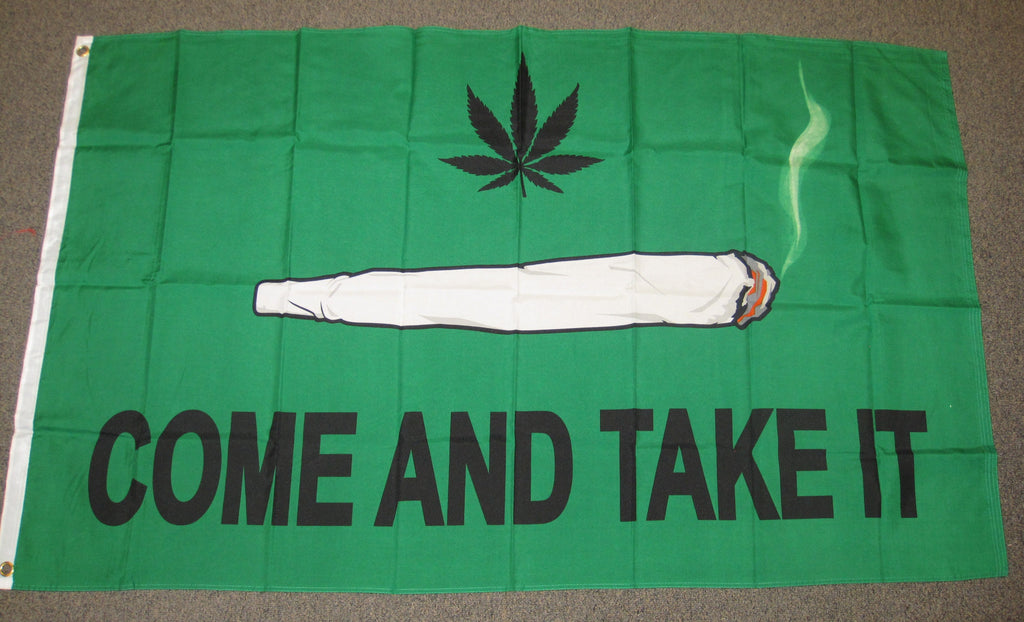 3'X5' Green Come And Take It Polyester Flag Marijuana Weed Pot