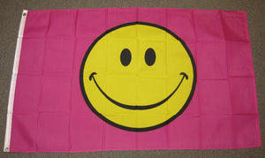 3'X5' Happy Face Pink Polyester Flag