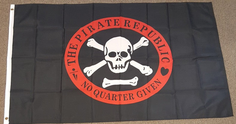3'X5' Pirate Republic Polyester Flag No Quarter Given Red Ring