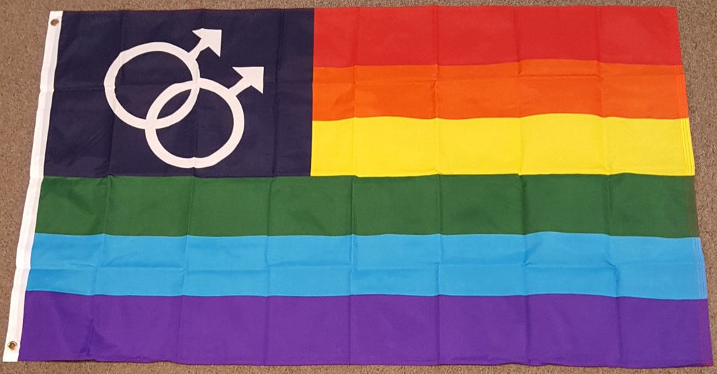 3'X5' Double Male Rainbow Polyester Flag Gay Pride