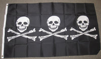 3'X5' Three Skull And Crossbones Pirate Polyester Flag
