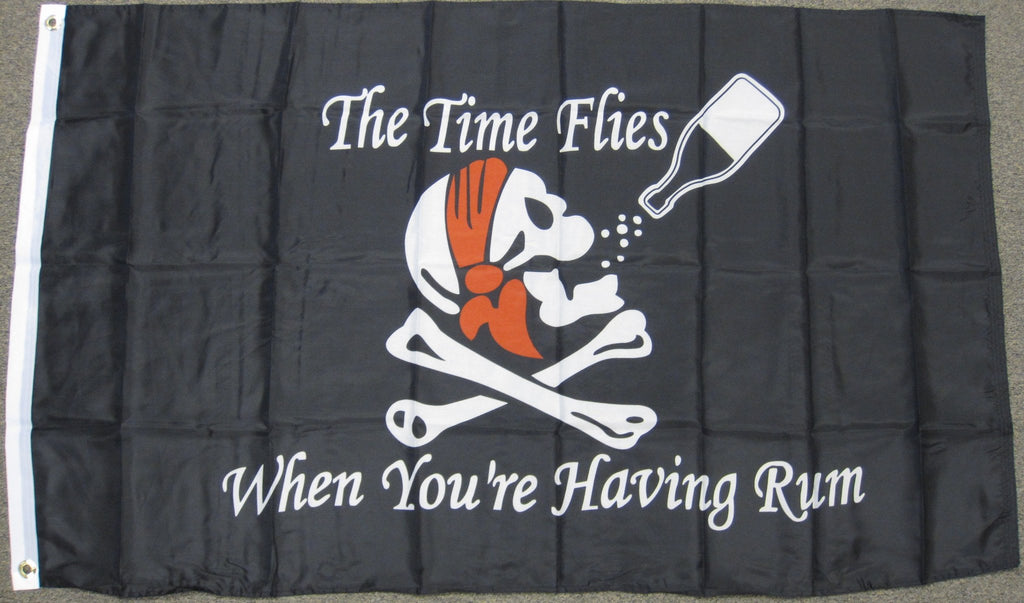 Economy 3'X5' Time Flies When Your Having Rum Pirate Polyester Flag