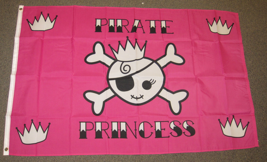 3'X5' Pink Pirate Princess Polyester Flag Crossbones