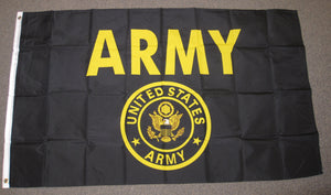 3'X5' Army Black And Gold Polyester Flag U.S. Military