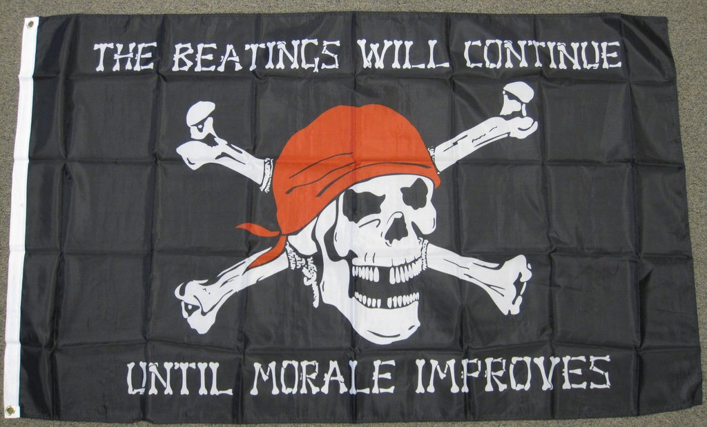 Economy 3X5 The Beatings Will Continue Unitl Morale Improves Pirate Polyester Flag