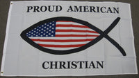 3'X5' Proud American Christian Fish Polyester Flag