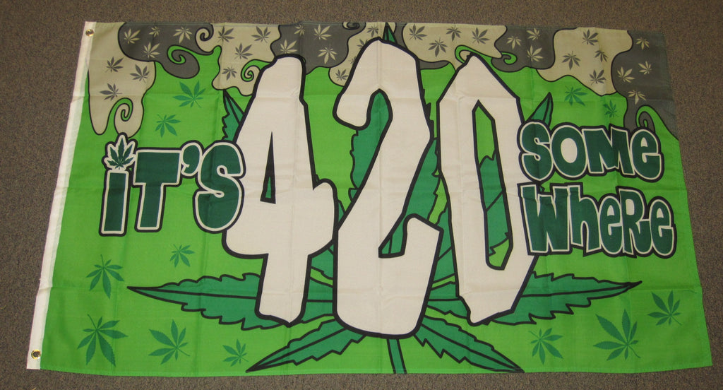 3'X5' Its 420 Some Where Polyester Flag Marijuana Weed