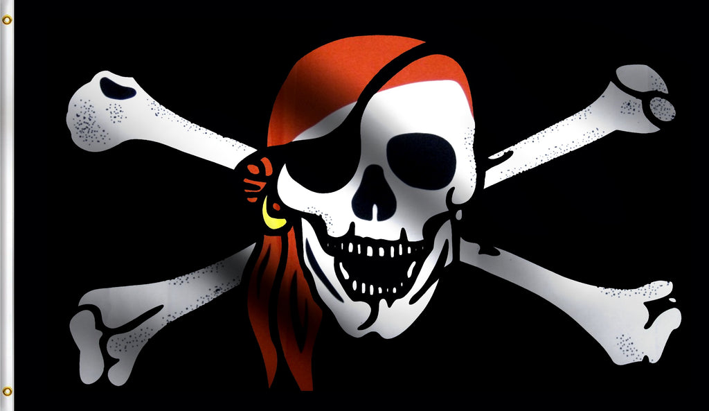 Economy 2X3 Red Bandana Pirate Polyester Flag