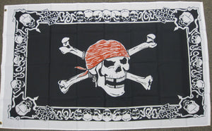 3'X5' Skull With Skull Border Pirate Polyester Flag