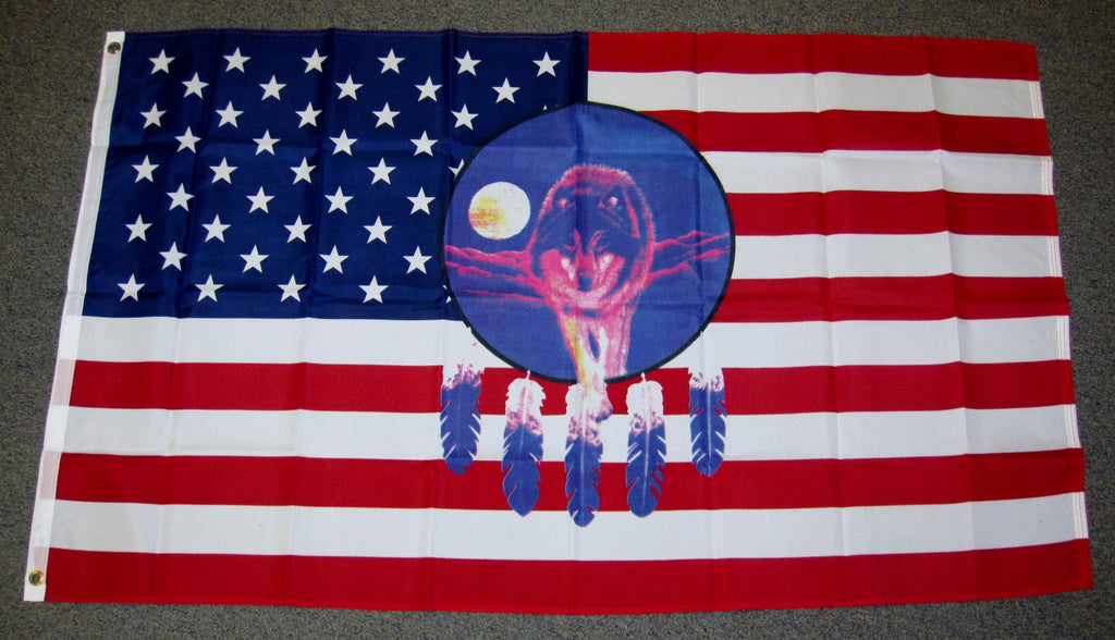 3'X5' Dream Catcher Wolf Polyester Flag Native American USA