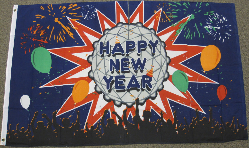 3'X5' Happy New Year Ball Polyester Flag