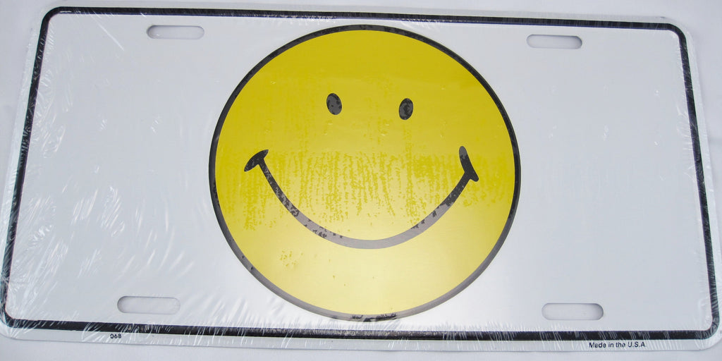 Smiley Face Aluminum Embossed License Plate