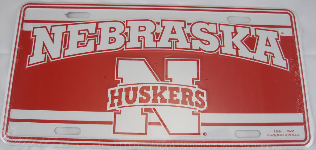 Nebraska Huskers Aluminum Embossed License Plate