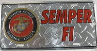Semper Fi United States Marine Corps Diamond Plate License Plate