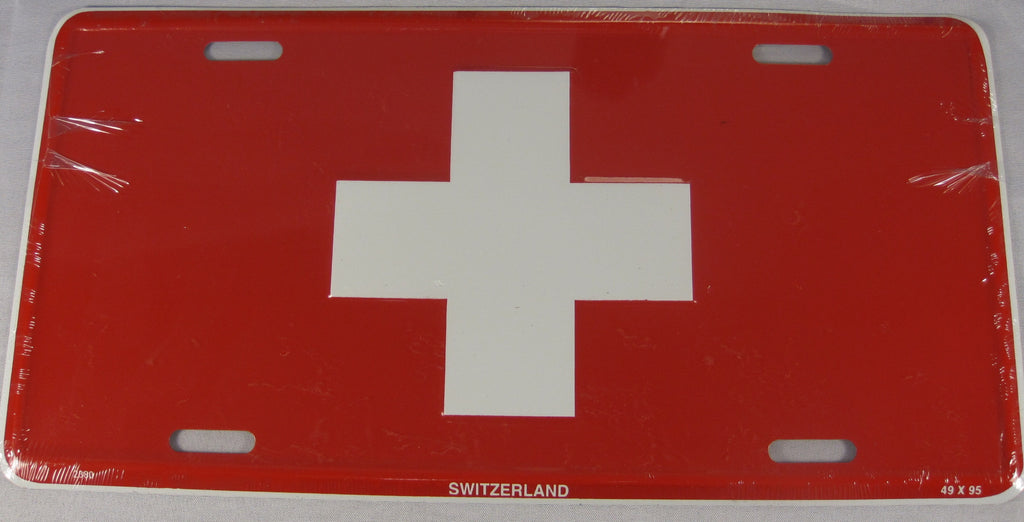 Swiss Switzerland Flag Aluminum Embossed License Plate