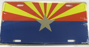 Arizona AZ State Flag Aluminum Embossed License Plate