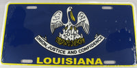 Louisiana LA State Flag Aluminum Embossed License Plate