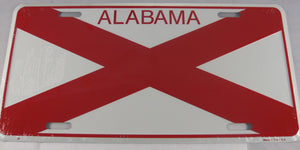 Alabama AL State Flag Aluminum Embossed License Plate