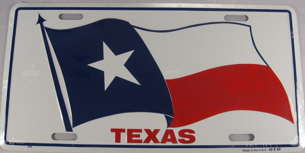 Texas TX Texan State Flag Aluminum Embossed License Plate